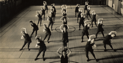 Fundamental gymnastics class in Boston-Bouve College, ca. 1930.