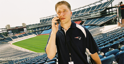 Brian Thelen at Gillette Stadium during his co-op with the New England Patriots.