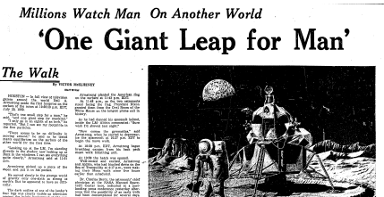 Boston Globe article on moon landing