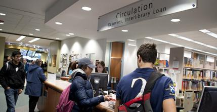 Circulation desk on the first floor of the library