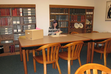 Researcher in the Archives and Special Collections Department Reading Room.