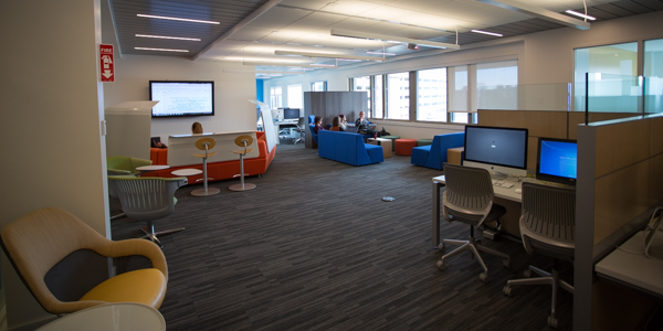The Digital Scholarship Commons on Snell Library's second floor