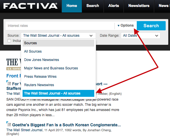 How to find Wall Street Journal articles in Factiva